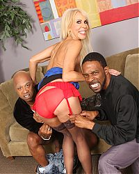 Filthy MILF Erica Lauren fucks with two black burglars on blacks on cougars blog