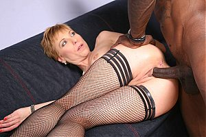 Short haired Gemma More makes a black cock disappear in her ass on blacks on cougars blog